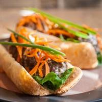 Asianstyle Meatball Sandwiches with Ginger Sauce  courtesay