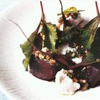 Roast beetroot with baby chard goat's cheese and walnuts