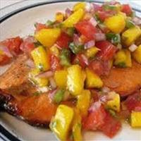 Grilled Salmon with a Pineapple strawberry mango salsa
