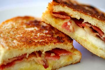 Grilled Cheese Sandwich with Bacon and Pear